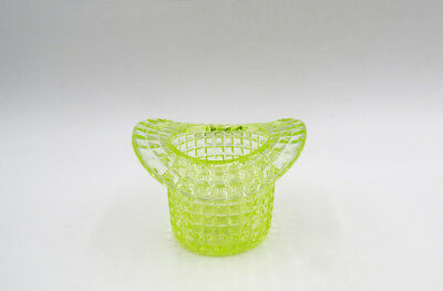 C. 1902 Rochester Glass Victorian Vaseline Glass Hat Toothpick ~ Waffle Pattern