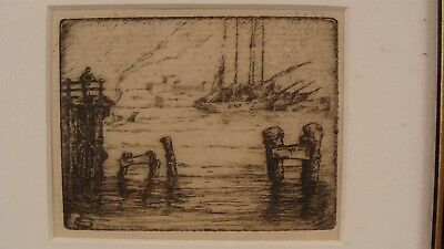 Antique 19C Estuary Oakland Seascape Etching