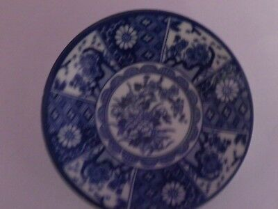 Vintage Japanese Porcelain Blue On White Flowers Design Dish/plate 12 Cms Dia