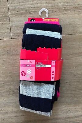 Set Of 2x Pairs Of Striped Tights Pink Grey & Navy 11-12 M&S BNWT