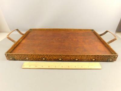 Arts & Crafts Serving Tray Hand Hammered Copper & Wood 22.5''