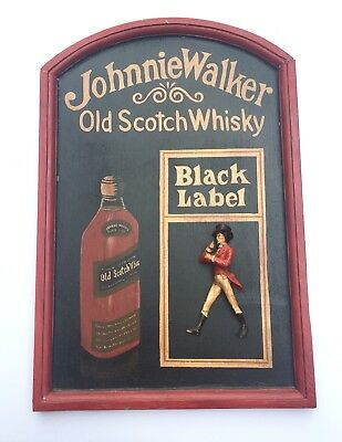 Johnnie Walker Black Label Wall Decor. Screen Printed on Wood with 3D Figure.