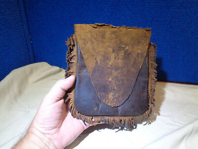 Antique Fringed Leather Mountain Man Fur Trade Pouch