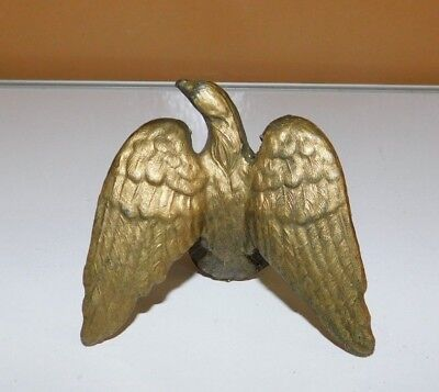 Vintage Brass Eagle Form Flag Finial Banjo Clock Topper