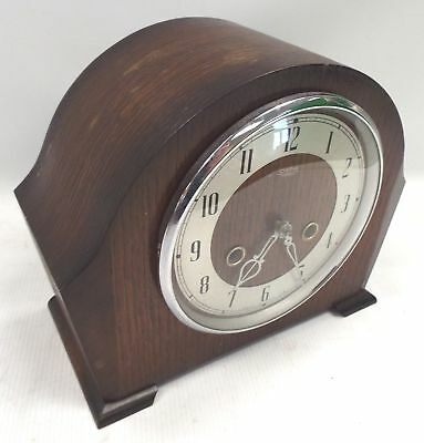 Vintage SMITHS ENFIELD Wooden Wind-up Mantle Clock With Key - P15