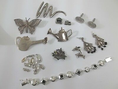 Vintage Lot of Sterling Silver Trinkets, pins ,bracelet,charms more ! FREE SHIP