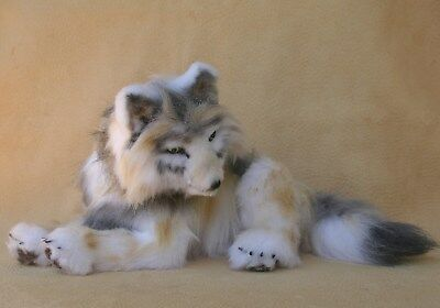 WOLF PUP GRAY Soft Sculpture Life Like OOAK 9x6 by Bear Animal Artist ~DAL ~