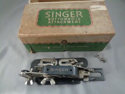 Vintage Singer Sewing Machine Buttonhole Attachment In Box