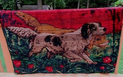 Antique Chase Mohair Buggy Carriage Sleigh Blanket With 2 Sporting Dogs Spaniels