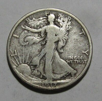 1917 Reverse D Walking Liberty Half Dollar - Very Good to Fine Condition - 123SU