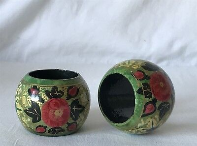 Vintage Pair of Wooden Napkin Rings Painted with Flowers on a Green Background