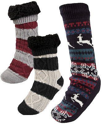 Mens Cosy Slipper Socks Warm Lined Knitted Bed Socks Booties Xmas Gift One Size