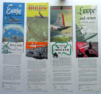 AMERICAN AIRLINES 1947 DC7 System Map, Flagship Maps, Europe Travel Brochures
