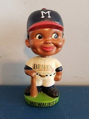 (VTG) 1960s MILWAUKEE BRAVES BLACK AFRICAN PLAYER BOBBLEHEAD NODDER JAPAN RARE