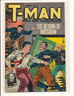"""T-Man # 21 - """"Return of Mussolini"""" cover & story Fine/VF Cond."""