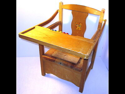 Vintage Child/Baby/Toddler Wood Potty Chair/Booster Flip Up Seat w/Tray/Beads