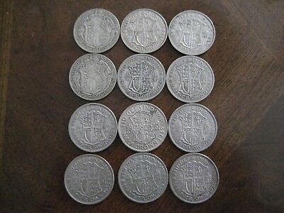 1920 -1942  Silver Great Britain 1/2 Crown Lot  (12 coins)
