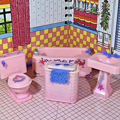 Renwal 1946 GORGEOUS STENCILED BATHROOM Vintage Dollhouse Furniture 1:16