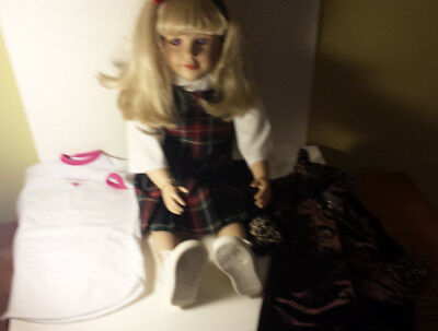 "My Twinn doll white body 23"" poseable blonde hair violet eyes 2 3 outfits 1998"