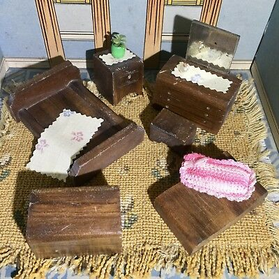 N Forbes 1940's CLASSIC WOOD BEDROOM SET Vintage Dollhouse Furniture small 3/4""