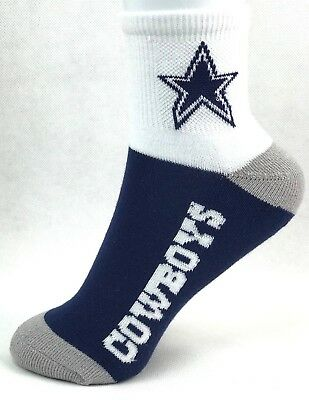 Dallas Cowboys Youth Quarter Socks Navy with White Cuff and Gray Heel and Toe