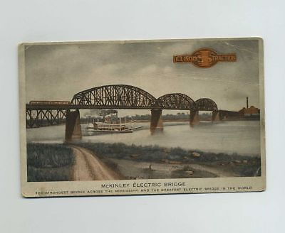 Illinois Traction System ITS McKinley Electric Bridge River Boat Postcard bv8876