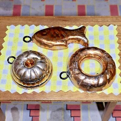 GERMAN COPPER MOLDS: KITCHEN Vintage Dollhouse ACCESSORIES 1:12