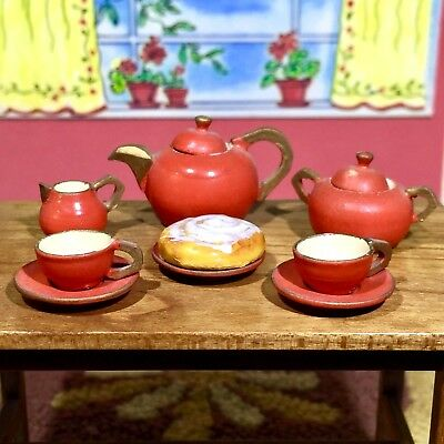 VINTAGE 1967 WOODEN TEA SET Dollhouse ACCESSORIES Furniture Mark Farmer 1:12