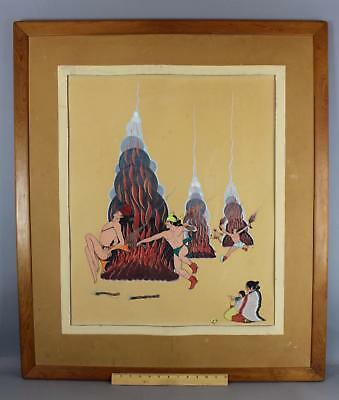 Authentic 1946 Antique Western Quincy Tahoma Navajo Fire Dance Gouache Painting