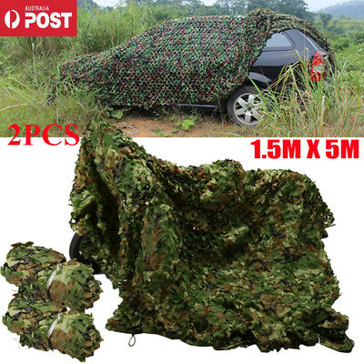 2PCS/3x5M Oxford Fabric Camouflage Net Camo Netting Hunting Hide Army Camping
