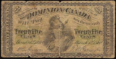 1870 Shinplaster 25 Cent Note Dominion Of Canada Currency Paper Money Fractional