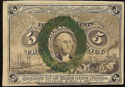 AU 5 CENT FRACTIONAL CURRENCY 1863 1867 UNITED STATES NOTE PAPER MONEY Fr 1233