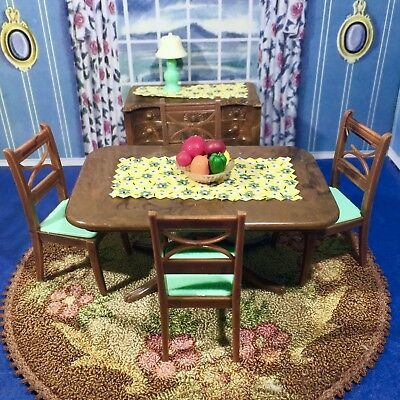 Renwal HTF GREEN & BROWN DINING ROOM w/LAMP Vintage Dollhouse 1:16