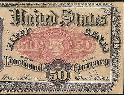 50 Cent Fractional Currency Series 1875 United States Note Old Paper Money