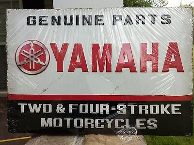 New Yamaha Genuine Parts old style 2 and 4 Stroke Motorcycles metal sign