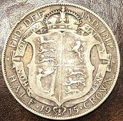- 1915 WWI Great Britain Silver 1/2 Half Crown George V Silver melt = $5.99