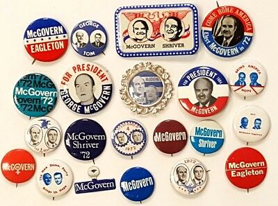 1972 Starter Collection of 21 Different George McGovern Campaign Buttons