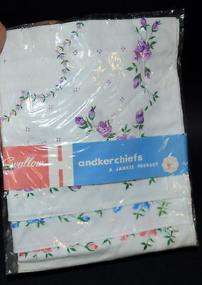 Vintage Handkerchief Set- 3x Hankies with Purple Blue & Pink Flowers in Wrapping