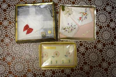 3 X Sets of new Vintage Embroidered Handkerchiefs Lace/Pure Irish Linen/Wedding