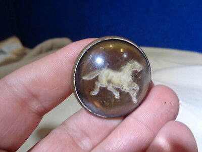 Vintage Horse Bridal Domed Glass Rosette Button
