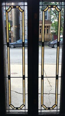 "Pair of 1920's Stained Leaded Glass Doors / Windows 47"" by 13"""