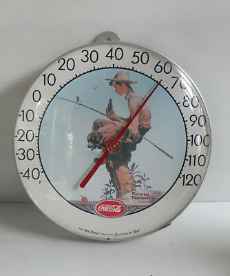 "Vintage 1984  Coca Cola FISHING BOY 12"" Round Thermometer Norman Rockwell"