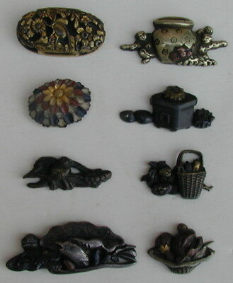 Collection Japanese Samurai Sword Fittings Fuchi Kashira Menuki 1890's Very Rare