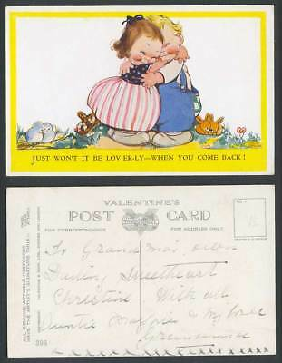 MABEL LUCIE ATTWELL Old Postcard Children Hugging Lovely When You Come Back! 396