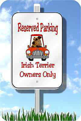 "Irish Terrier parking sign novelty 8""x12"" metal dog aluminum"