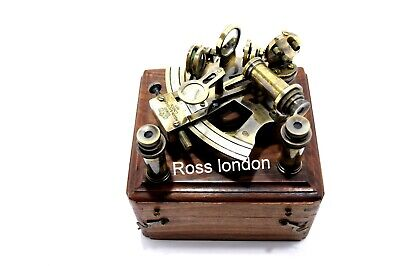 ROSS LONDON Antique Brass Navigation Sextant in Wooden Box & Two Extra Telescope