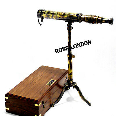 ROSS LONDON 1915 Tripod Telescope 10 Inch Antique Nautical Brass With Wooden Box
