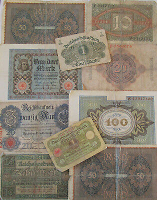 WW I Time and later  German Soldiers Original 10 Banknotes  1908 -1920