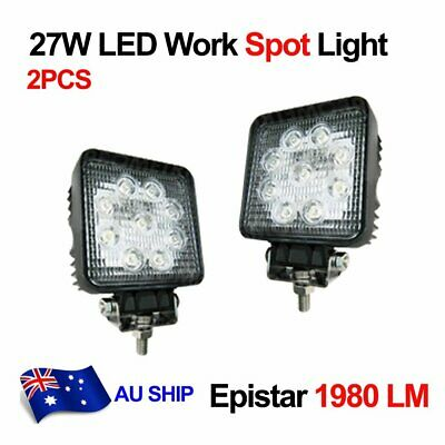 2X 27W Square Spot LED Off road Work Light Lamp for 4WD 4X4 Car Boat Truck AU