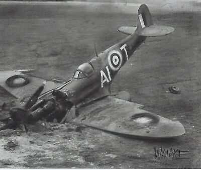 Charcoal Drawing    Death Of A Spitfire.